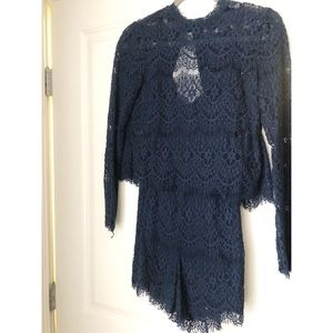blue lace romper from Anthropologie
